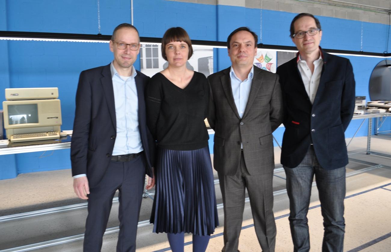 Raf Degens (Corda Campus), Karen Wuytens (PXL),Stijn Bijnens (LRM) en Peter Hinssen (Apple Collection)