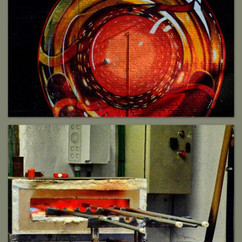 Naar het heilige der heiligen : de 'glas'blazerij !The Atelier du ValThe work and talent of the Master glassmaker lived live. In front of you the creation of a unique piece.