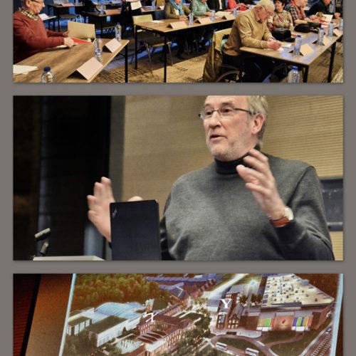 Onze groep krijgt uitleg over het nieuwe project Val Saint Lambert- X en Y bestaan reeds- maar er is een vrijetijdspark en een woonsite gepland....