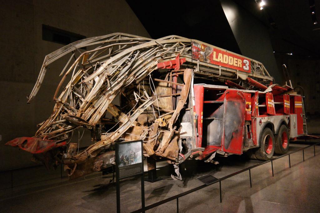 Een stille getuige van 9/11 in het Memorial Museum… alle brandweermannen overleefden de terroristische aanslag niet.