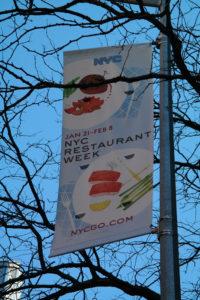 Publiciteit voor de voorbije restaurantweek in New York City (editie winter 2019).