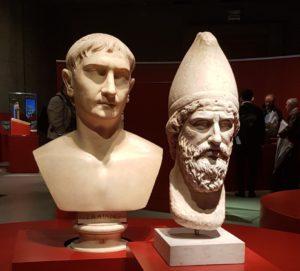 Trajanus en hoofd van een Daciër