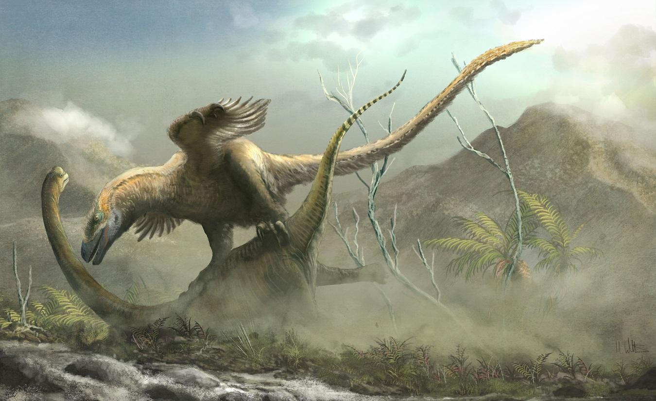 Deinonychus en Sauroposeidon © Witton 2019